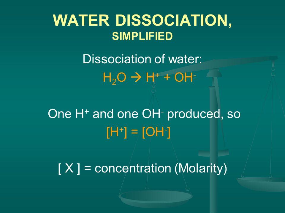 WATER DISSOCIATION, SIMPLIFIED