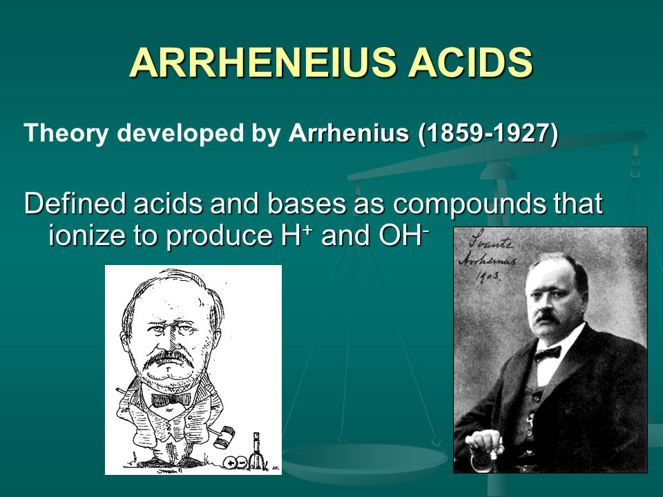 ARRHENEIUS ACIDS Theory developed by Arrhenius (1859-1927) Defined acids and bases as compounds that ionize to produce H+ and OH-