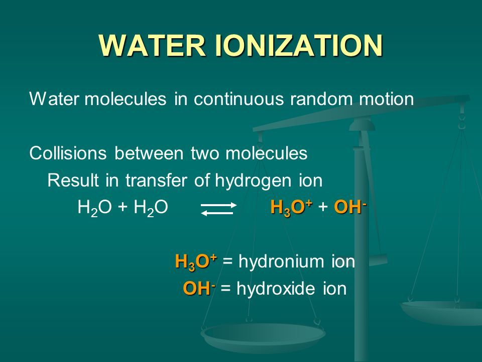 WATER IONIZATION Water molecules in continuous random motion