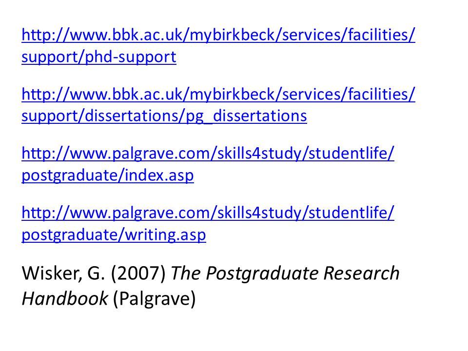 Wisker, G. (2007) The Postgraduate Research Handbook (Palgrave)