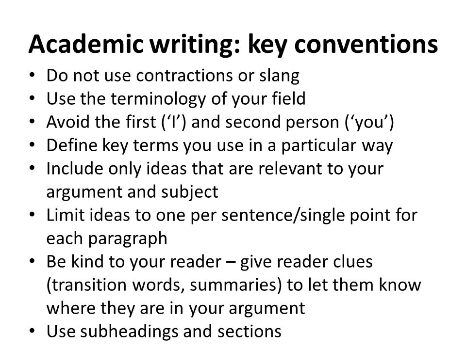 Academic writing: key conventions