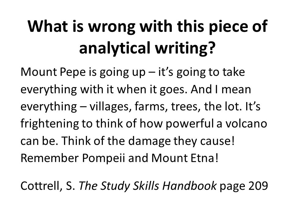 What is wrong with this piece of analytical writing