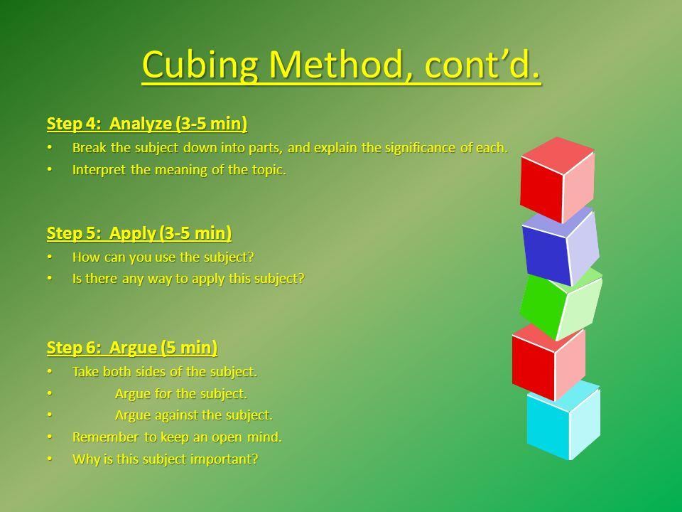 Cubing Method, cont'd. Step 4: Analyze (3-5 min)