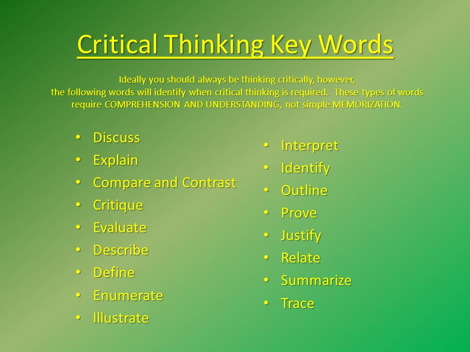 Critical Thinking Key Words