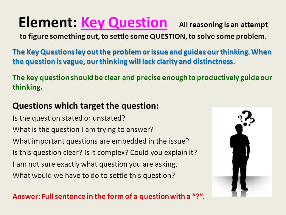 Element: Key Question All reasoning is an attempt to figure something out, to settle some QUESTION, to solve some problem.