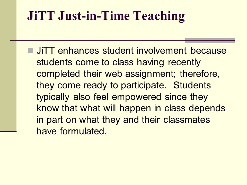 JiTT Just-in-Time Teaching