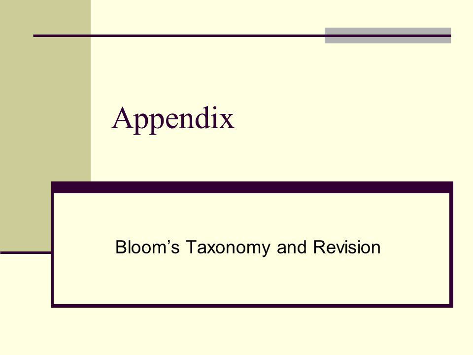 Bloom's Taxonomy and Revision