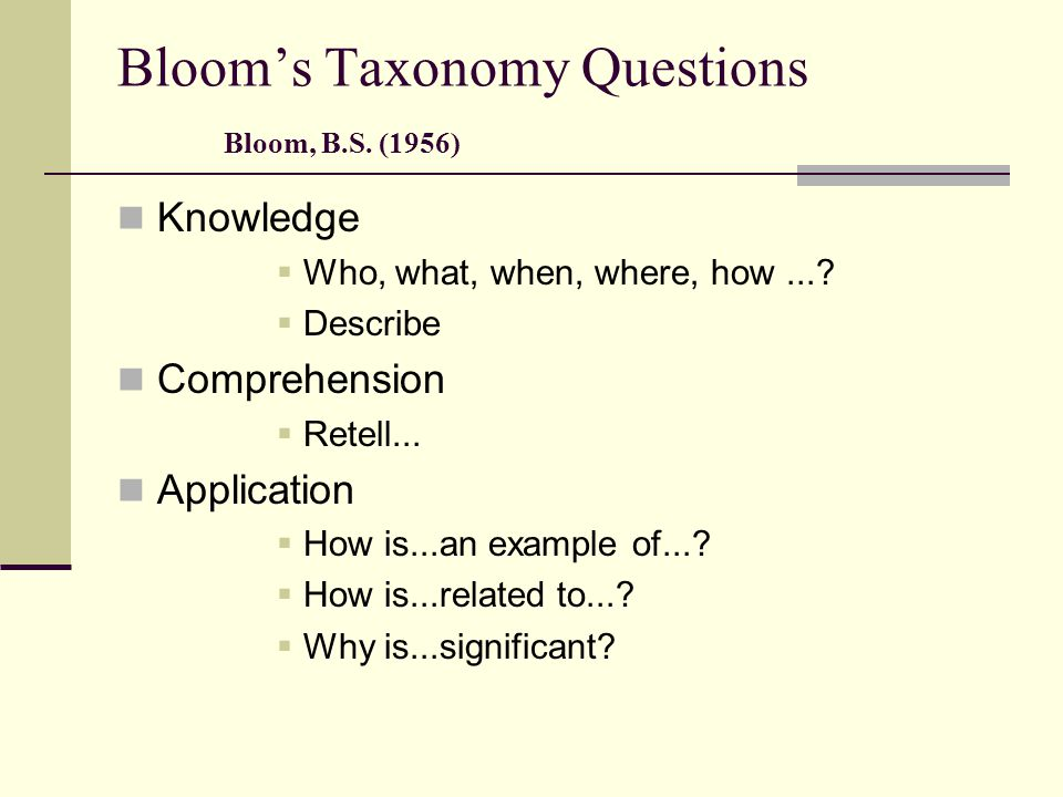 Bloom's Taxonomy Questions Bloom, B.S. (1956)