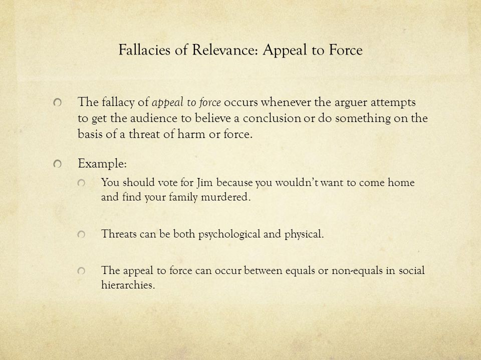 Fallacies of Relevance: Appeal to Force