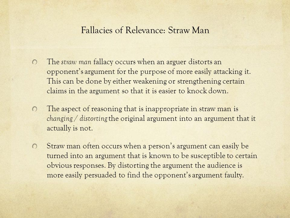 Fallacies of Relevance: Straw Man