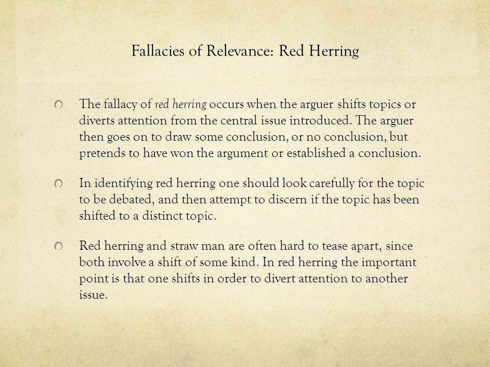 Fallacies of Relevance: Red Herring