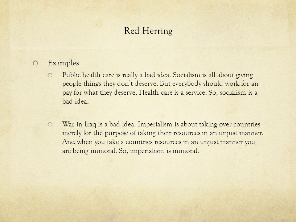 Red Herring Examples.