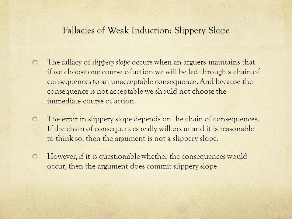 Fallacies of Weak Induction: Slippery Slope