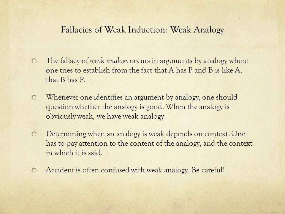 Fallacies of Weak Induction: Weak Analogy