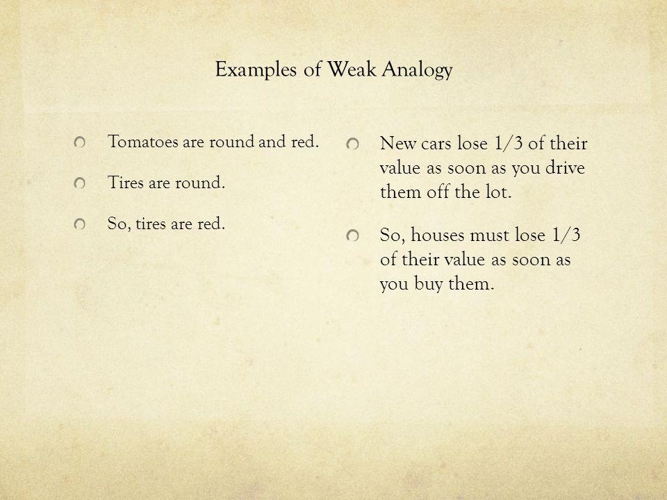 Examples of Weak Analogy
