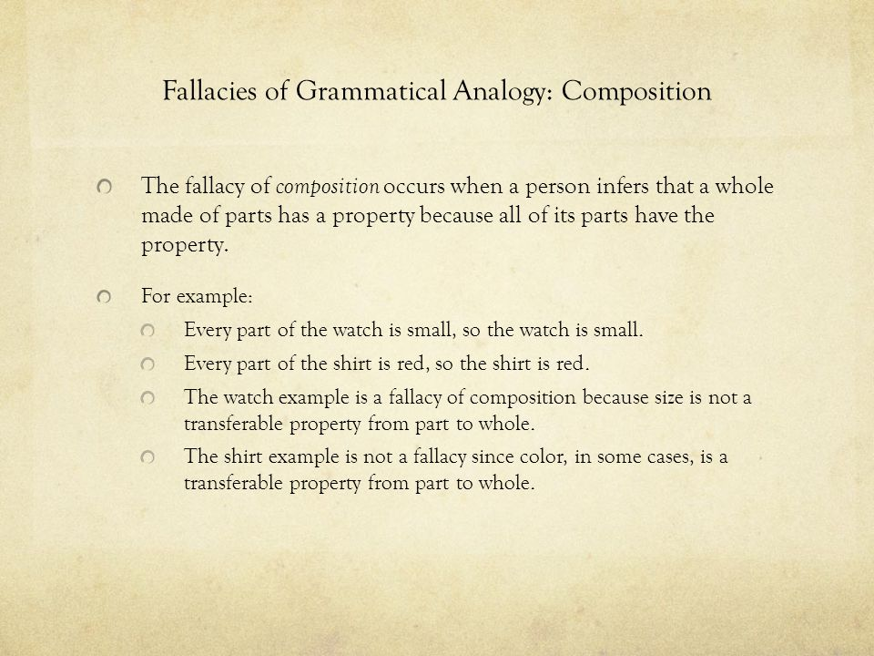 Fallacies of Grammatical Analogy: Composition