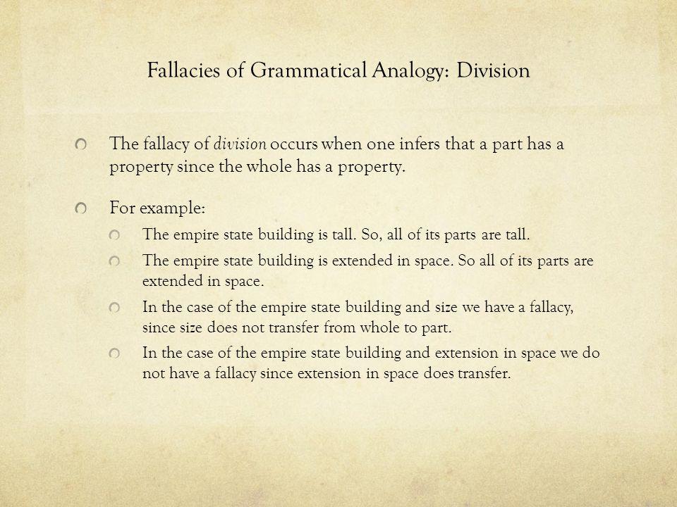 Fallacies of Grammatical Analogy: Division