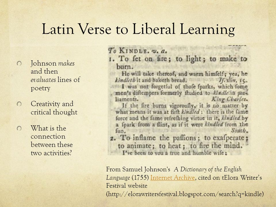Latin Verse to Liberal Learning