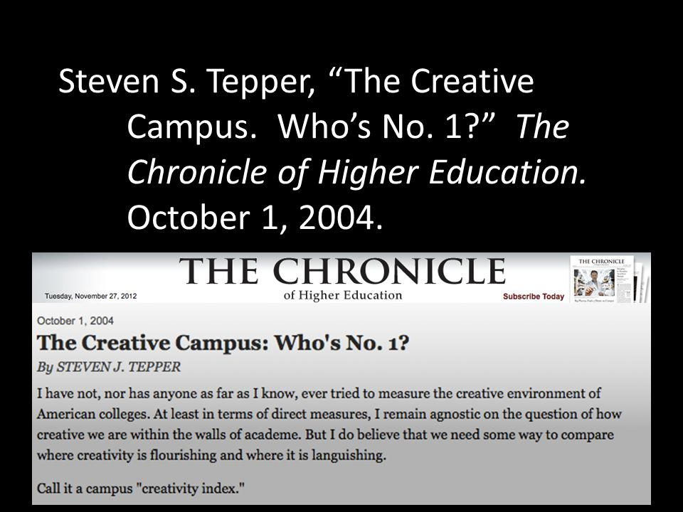 Steven S. Tepper, The Creative. Campus. Who's No. 1. The