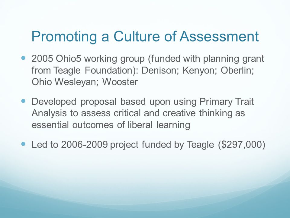 Promoting a Culture of Assessment