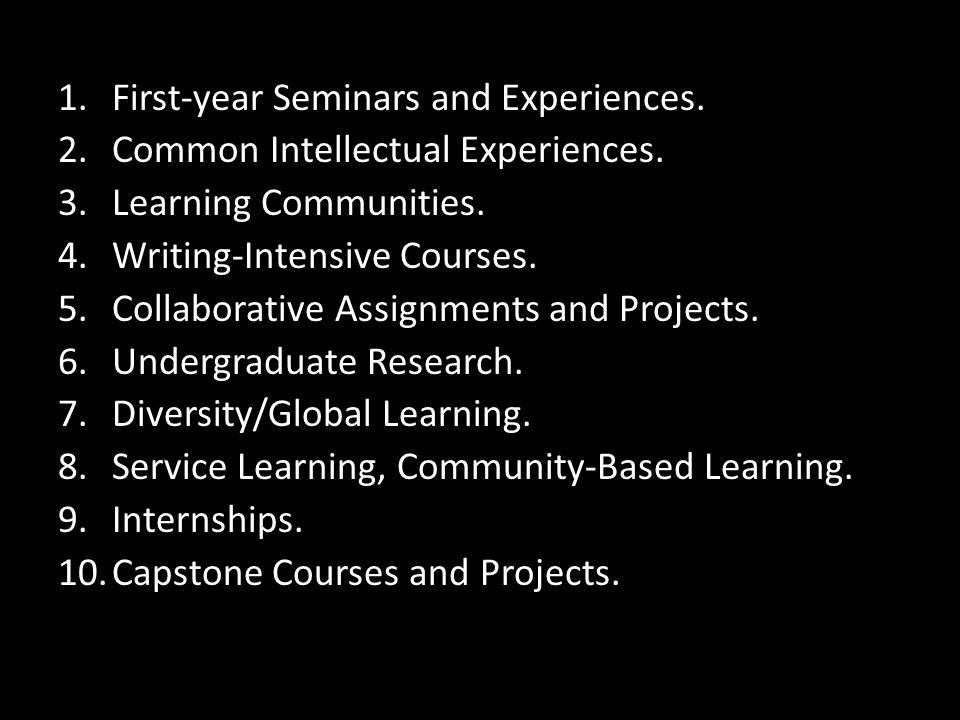 First-year Seminars and Experiences.