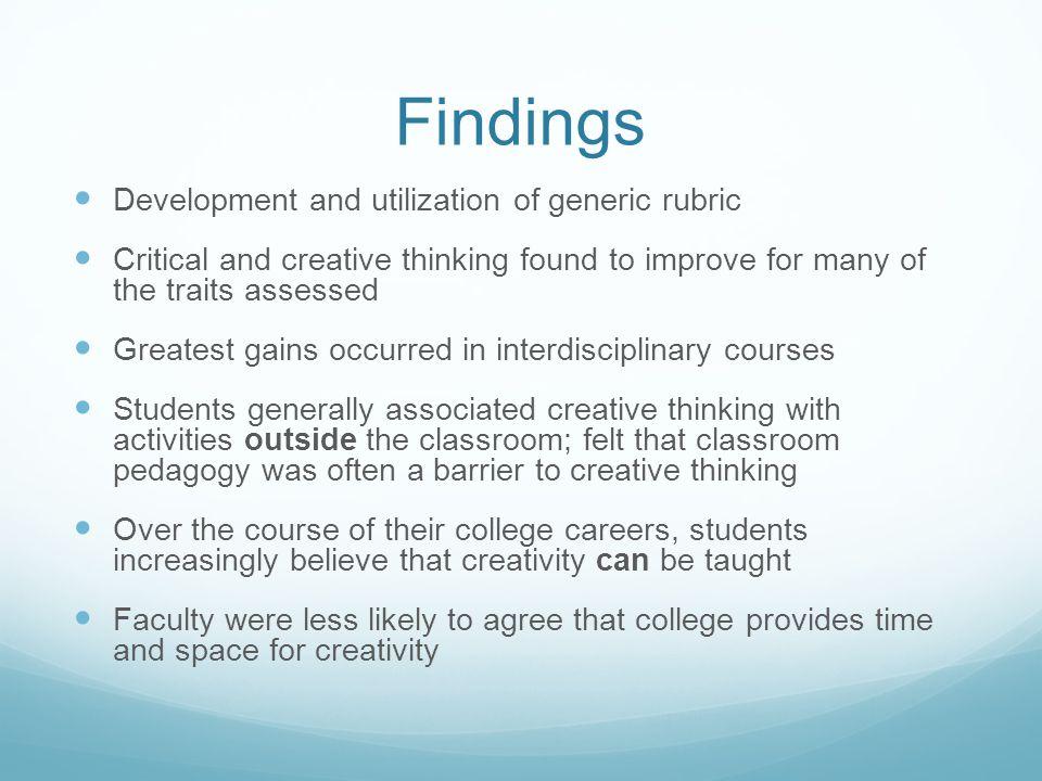 Findings Development and utilization of generic rubric
