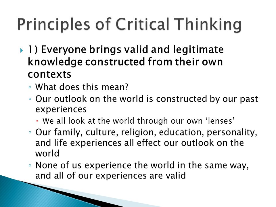 Principles of Critical Thinking