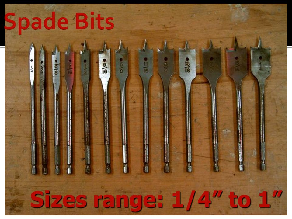 Spade Bits Sizes range: 1/4 to 1 Another type is a spade bit.