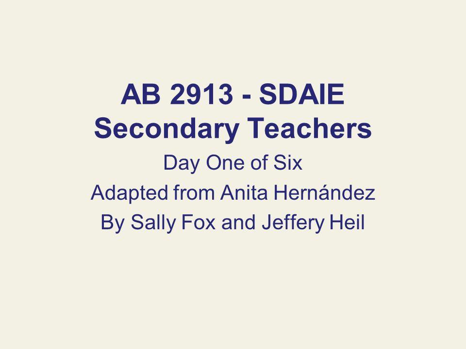 AB 2913 - SDAIE Secondary Teachers