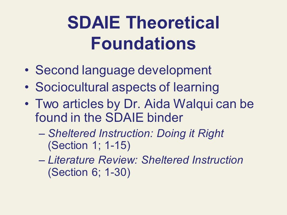 SDAIE Theoretical Foundations
