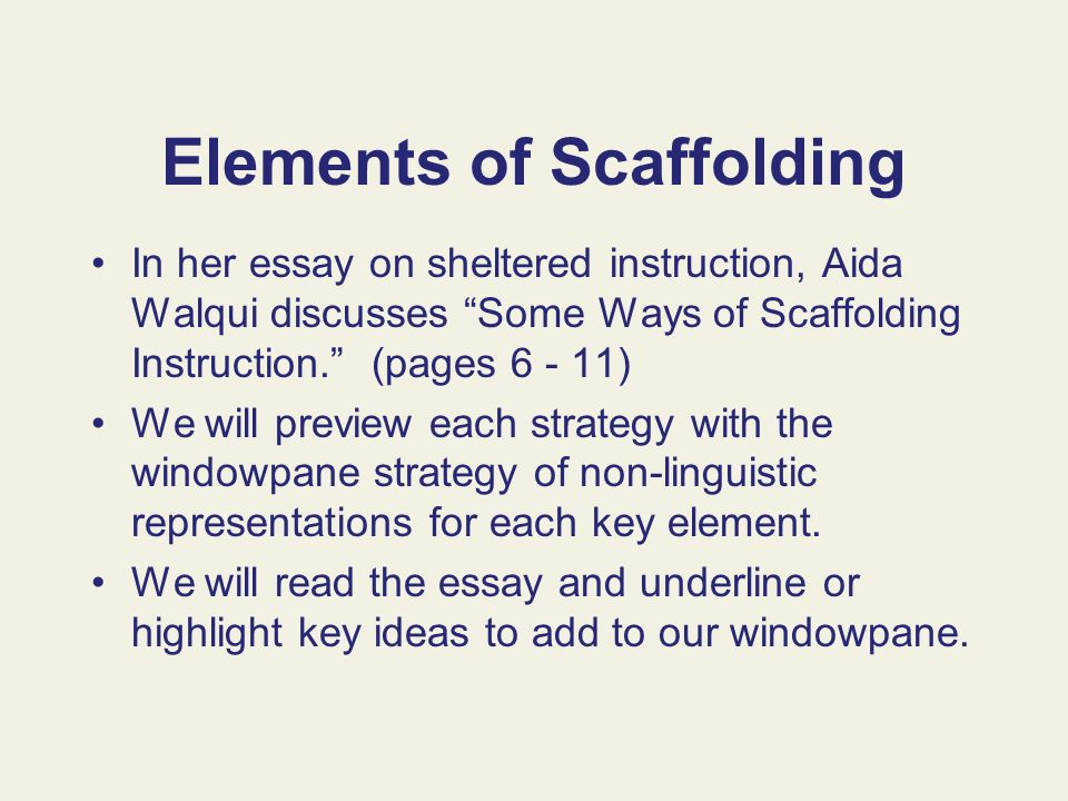 Elements of Scaffolding