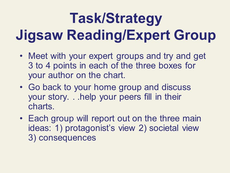 Task/Strategy Jigsaw Reading/Expert Group