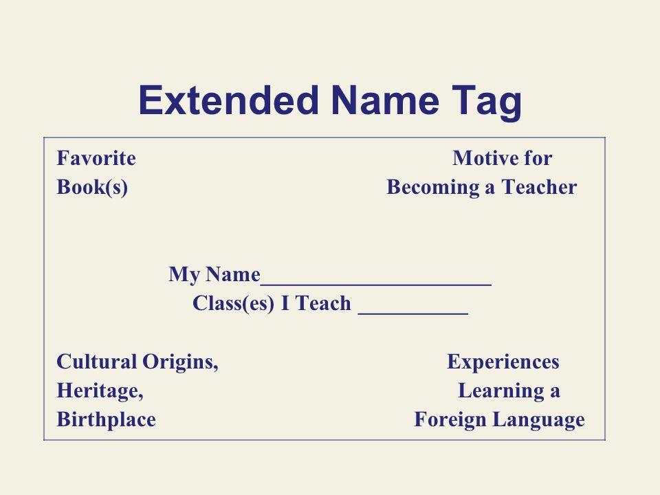My Name_____________________ Class(es) I Teach __________