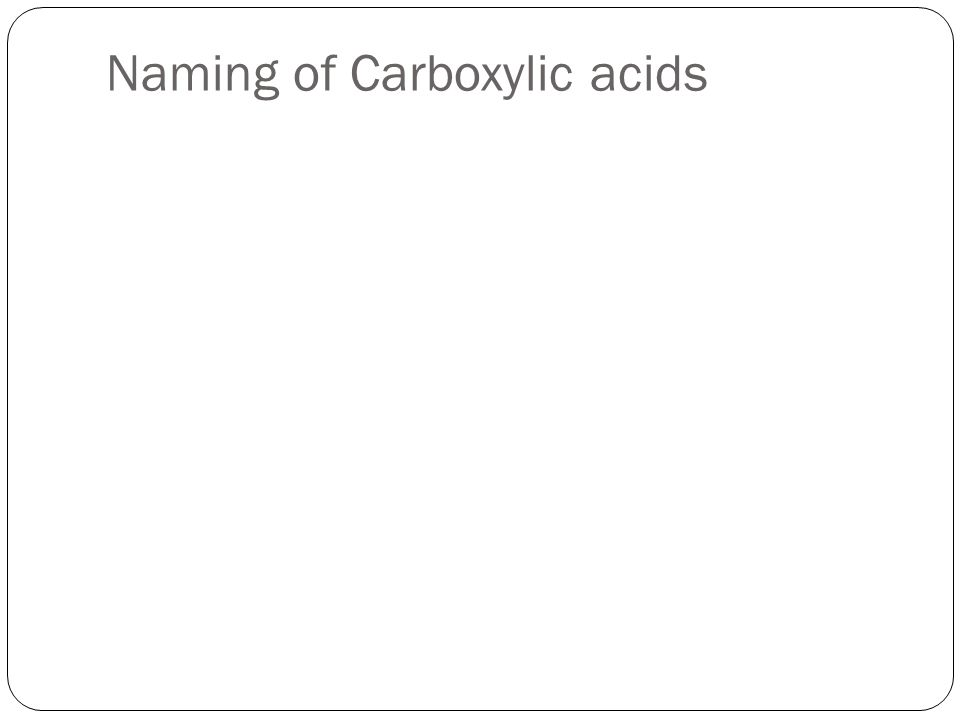 Naming of Carboxylic acids