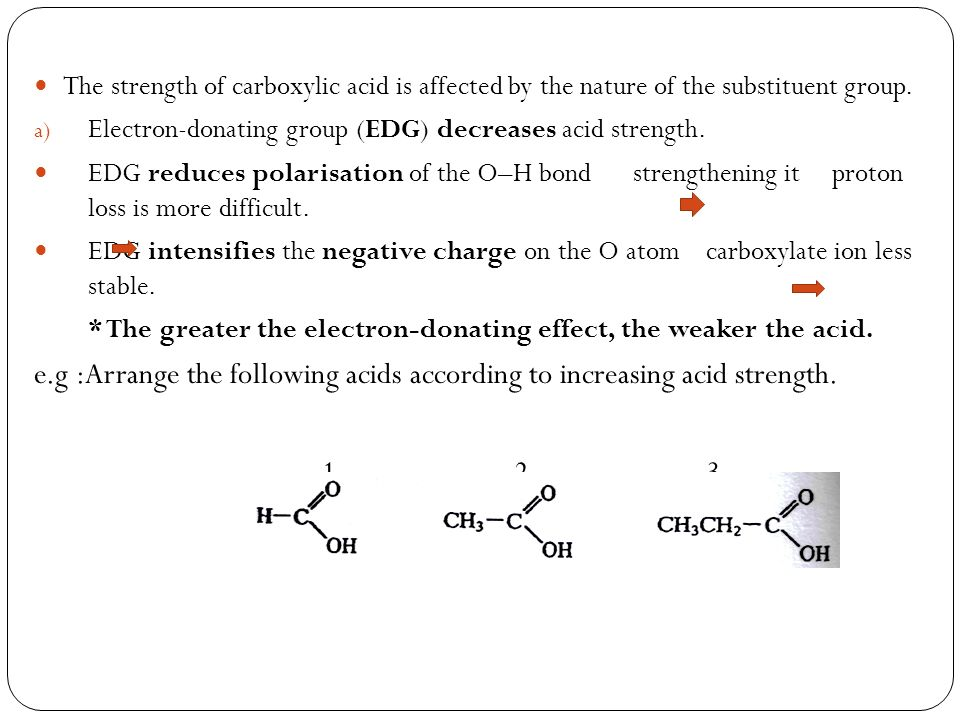 The strength of carboxylic acid is affected by the nature of the substituent group.