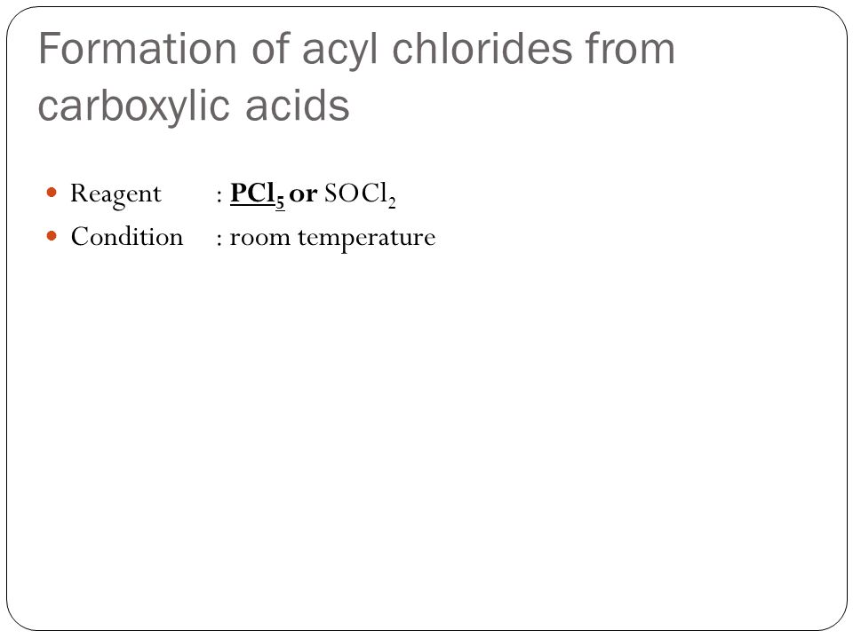 Formation of acyl chlorides from carboxylic acids