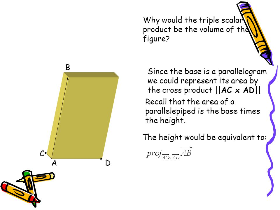 Why would the triple scalar product be the volume of the figure