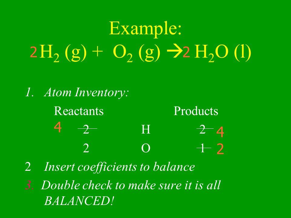 Example: H2 (g) + O2 (g)  H2O (l)