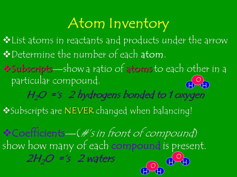 Atom Inventory List atoms in reactants and products under the arrow. Determine the number of each atom.