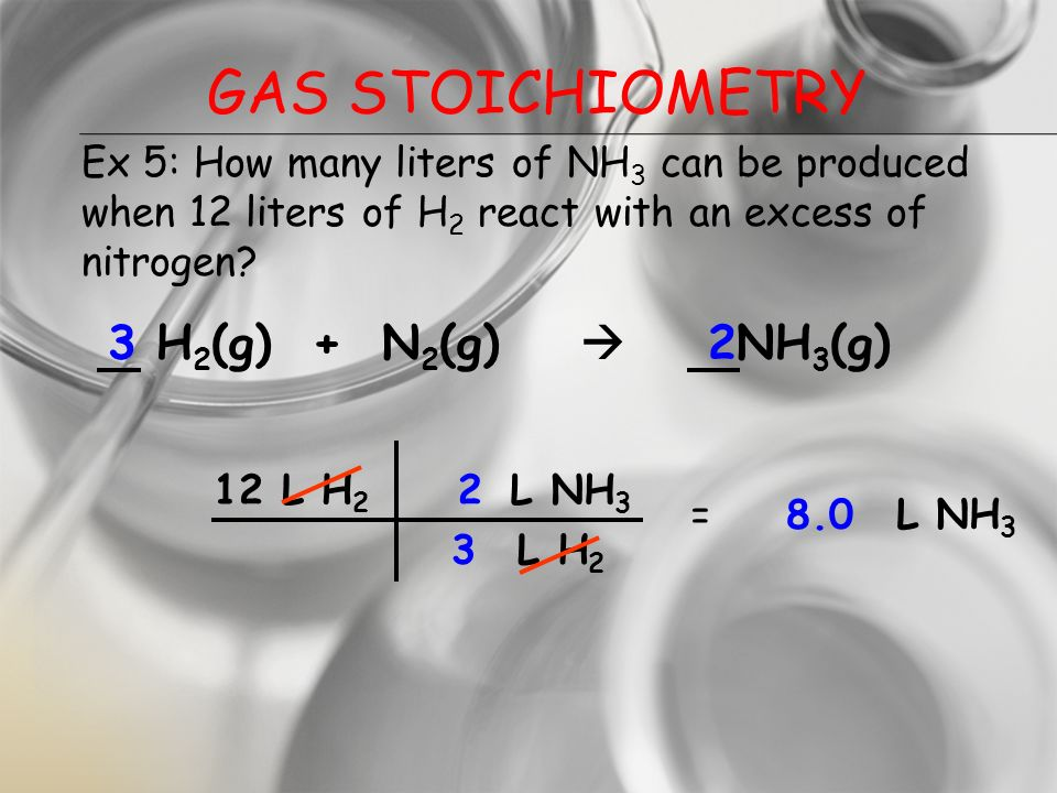Gas Stoichiometry 3 H2(g) + N2(g)  2NH3(g)