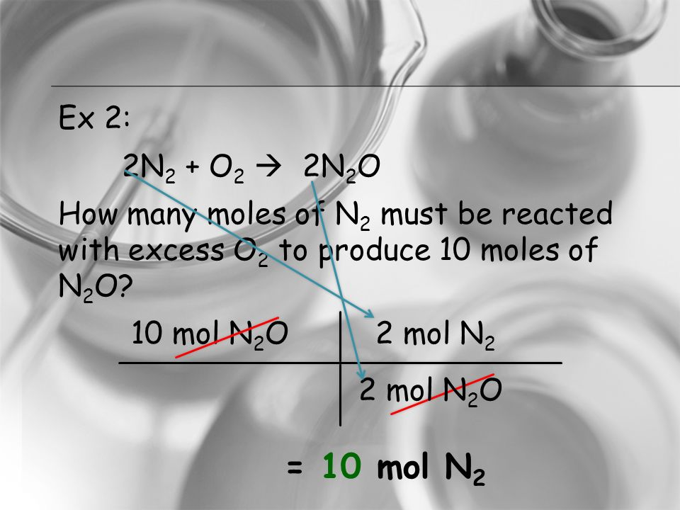 Ex 2: 2N2 + O2  2N2O How many moles of N2 must be reacted with excess O2 to produce 10 moles of N2O 10 mol N2O