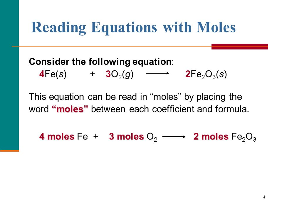 Reading Equations with Moles