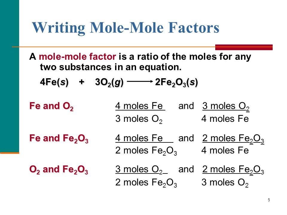 Writing Mole-Mole Factors