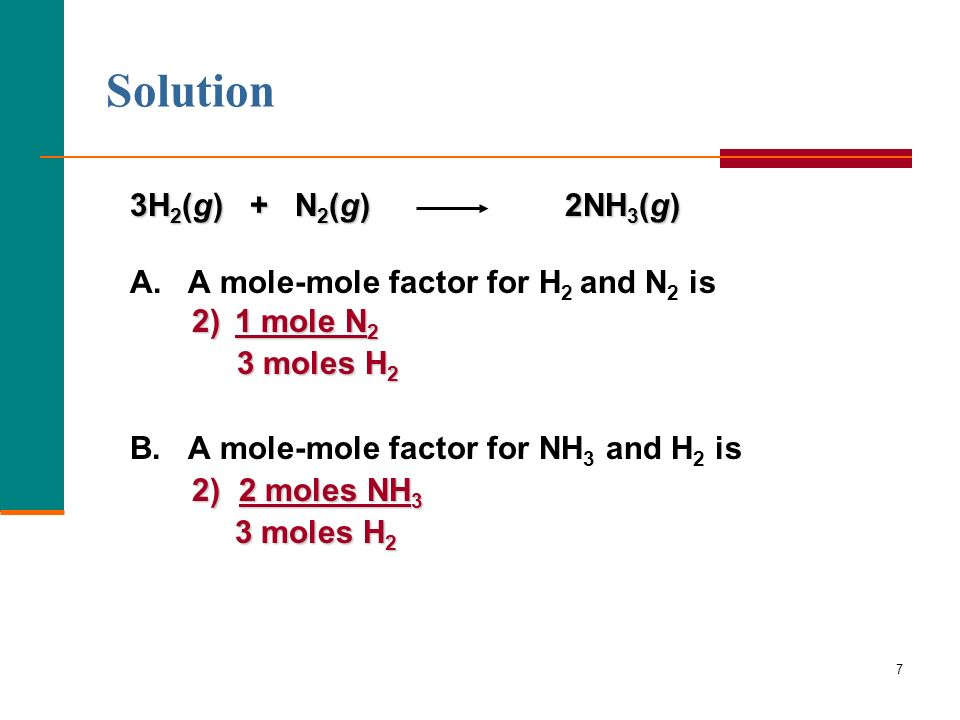 Solution 3H2(g) + N2(g) 2NH3(g) A. A mole-mole factor for H2 and N2 is