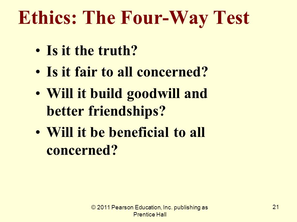 Ethics: The Four-Way Test
