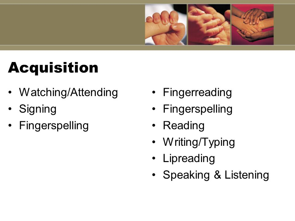 Acquisition Watching/Attending Signing Fingerspelling Fingerreading