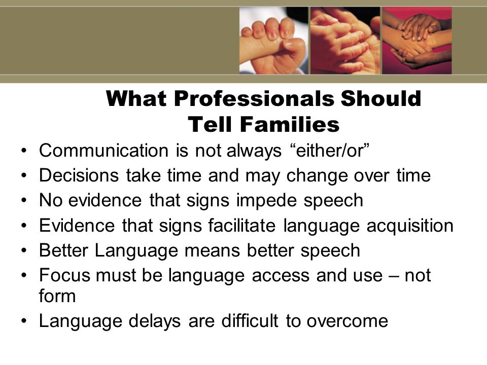 What Professionals Should Tell Families