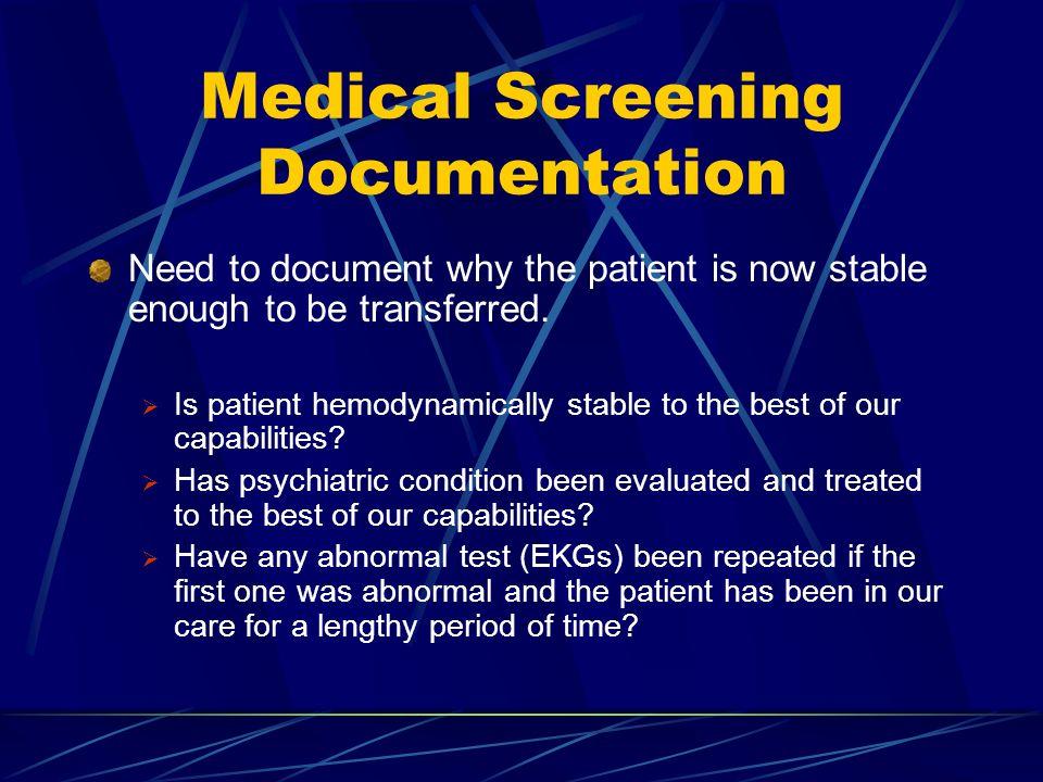 Medical Screening Documentation