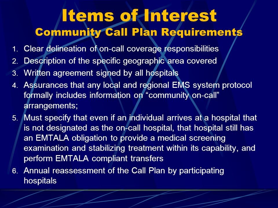 Items of Interest Community Call Plan Requirements