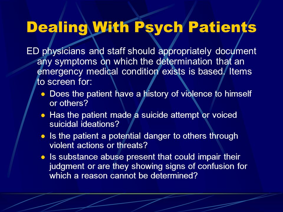 Dealing With Psych Patients